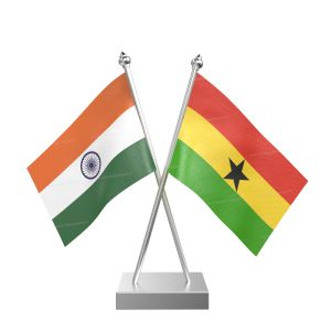 Ghana Table Flag With Stainless Steel Square Base And Pole