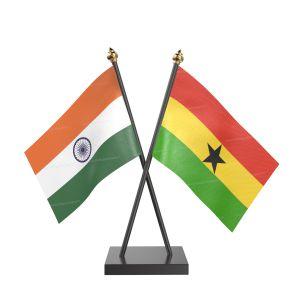 Ghana Table Flag With Black Acrylic Base And Gold Top