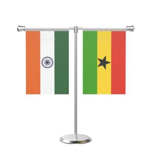 Ghana T Shaped Table Flag with Stainless Steel Base and Pole