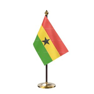 Ghana Table Flag With Golden Base And Plastic pole