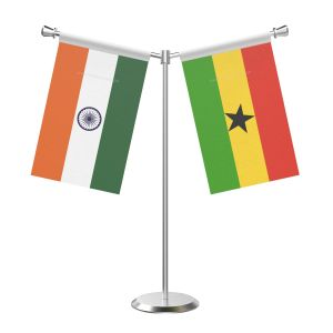 Y Shaped Ghana Table Flag with Stainless Steel Base and Pole