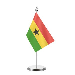"""Single Ghana Table Flag with Stainless Steel Base and Pole with 15"""" pole"""