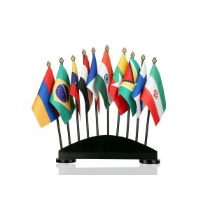 Group of 10 Flag Stand With Black Acrylic Base And Plastic Poles