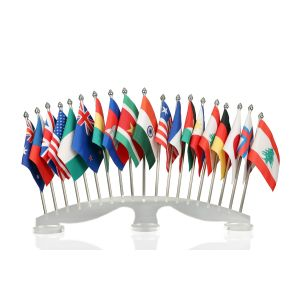Group of 20 Flag Stand With Transparent Acrylic Base And Stainless Poles
