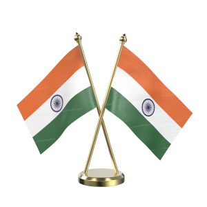 Indian Table Flag With Brass Base And Brass Pole