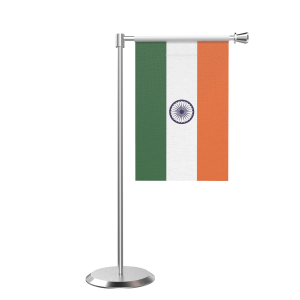 L Shape Table India Table Flag With Stainless Steel Base And Pole