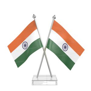 Indian Table Desk Miniature  Flag With Stainless Steel pole and transparent acrylic base silver top