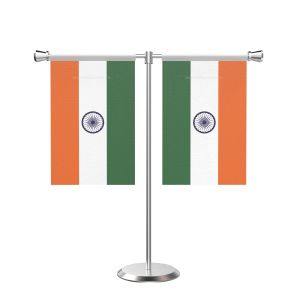 Indian T Shaped Table Flag with Stainless Steel Base and Pole