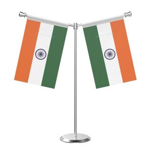 Y Shaped Indian Table Flag with Stainless Steel Base and Pole
