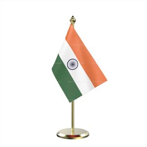 Single Indian Table Desk Miniature Flag With Brass Base And Brass Pole