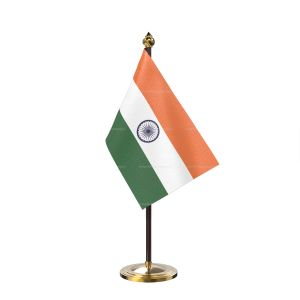 Indian Table Desk Miniature  Flag With Golden Base And Plastic pole