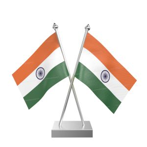 Indian Table  Desk Miniature  Flag With Stainless Steel Square Base And Pole