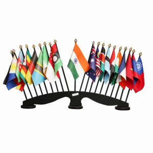 Group of 20 Flag Stand With Black Acrylic Base And Plastic Poles