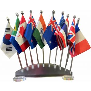Group of 10 Flag Stand With Transparent Acrylic Base And Stainless Poles