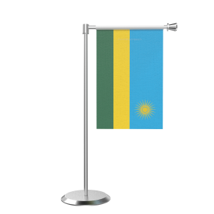 L Shape Table Rwanda Table Flag With Stainless Steel Base And Pole