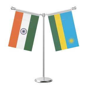 Y Shaped Rwanda Table Flag With Stainless Steel Base And Pole