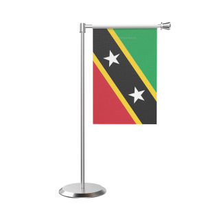 L Shape Table Saint Kitts And Nevis Table Flag With Stainless Steel Base And Pole