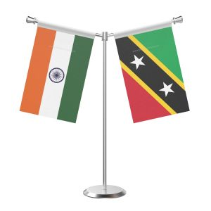 Y Shaped Saint Kitts And Nevis Table Flag With Stainless Steel Base And Pole