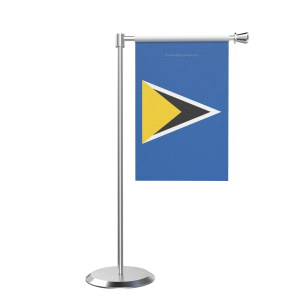 L Shape Table Saint Lucia Table Flag With Stainless Steel Base And Pole