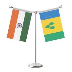 Y Shaped Saint Vincent And The Grenadines Table Flag With Stainless Steel Base And Pole