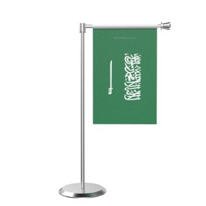 L Shape Table Saudi Arabia Table Flag With Stainless Steel Base And Pole