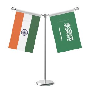 Y Shaped Saudi Arabia Table Flag With Stainless Steel Base And Pole