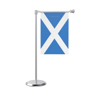 L Shape Table Scotland Table Flag With Stainless Steel Base And Pole