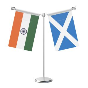 Y Shaped Scotland Table Flag With Stainless Steel Base And Pole