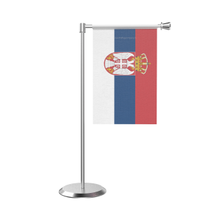 L Shape Table Serbia Table Flag With Stainless Steel Base And Pole