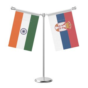 Y Shaped Serbia Table Flag With Stainless Steel Base And Pole