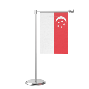 L Shape Table Singapore Table Flag With Stainless Steel Base And Pole