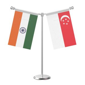 Y Shaped Singapore Table Flag With Stainless Steel Base And Pole