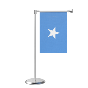 L Shape Table Somalia Table Flag With Stainless Steel Base And Pole