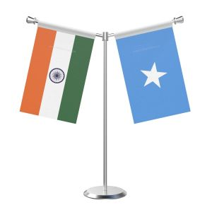Y Shaped Somalia Table Flag With Stainless Steel Base And Pole
