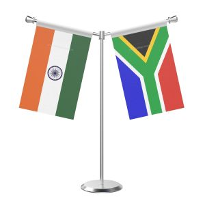 Y Shaped South Africa Table Flag With Stainless Steel Base And Pole