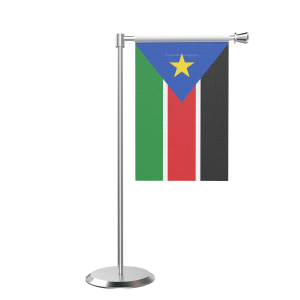 L Shape Table South Sudan Table Flag With Stainless Steel Base And Pole