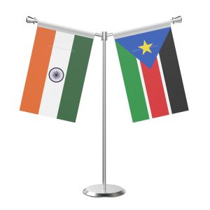 Y Shaped South Sudan Table Flag With Stainless Steel Base And Pole