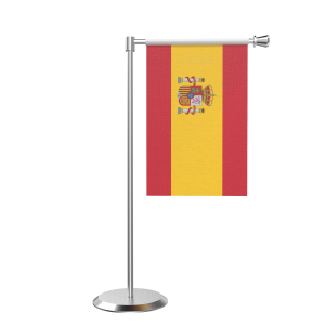 L Shape Table Spain Table Flag With Stainless Steel Base And Pole