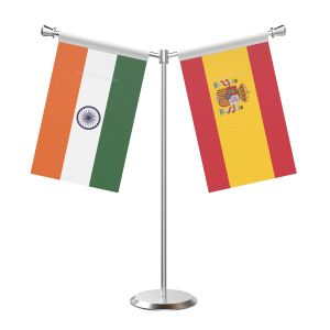 Y Shaped Spain Table Flag With Stainless Steel Base And Pole