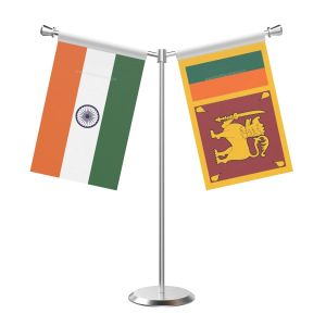 Y Shaped Sri Lanka Table Flag With Stainless Steel Base And Pole