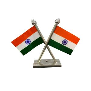 Indian Flag Stand For Car Dashboard – Cross Stainless steel