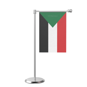 L Shape Table Sudan Table Flag With Stainless Steel Base And Pole