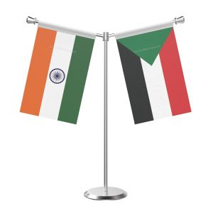 Y Shaped Sudan Table Flag With Stainless Steel Base And Pole
