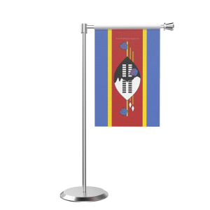 L Shape Table Swaziland Table Flag With Stainless Steel Base And Pole