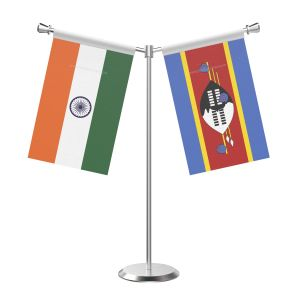 Y Shaped Swaziland Table Flag With Stainless Steel Base And Pole