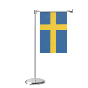 L Shape Table Sweden Table Flag With Stainless Steel Base And Pole