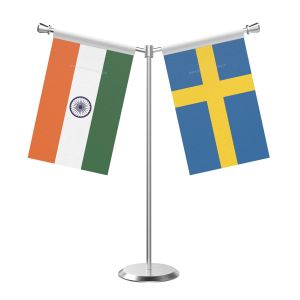 Y Shaped Sweden Table Flag With Stainless Steel Base And Pole