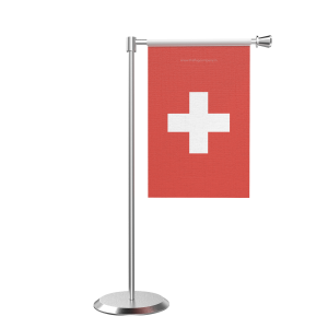 L Shape Table Switzerland Table Flag With Stainless Steel Base And Pole