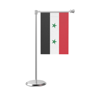 L Shape Table Syria Table Flag With Stainless Steel Base And Pole