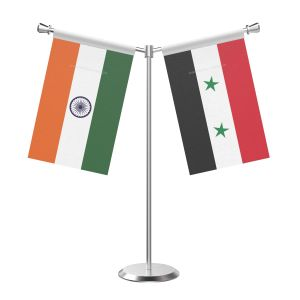 Y Shaped Syria Table Flag With Stainless Steel Base And Pole